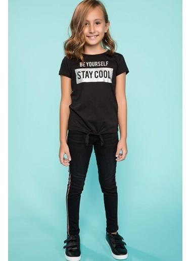 DeFacto Slogan Baskılı T-shirt Siyah
